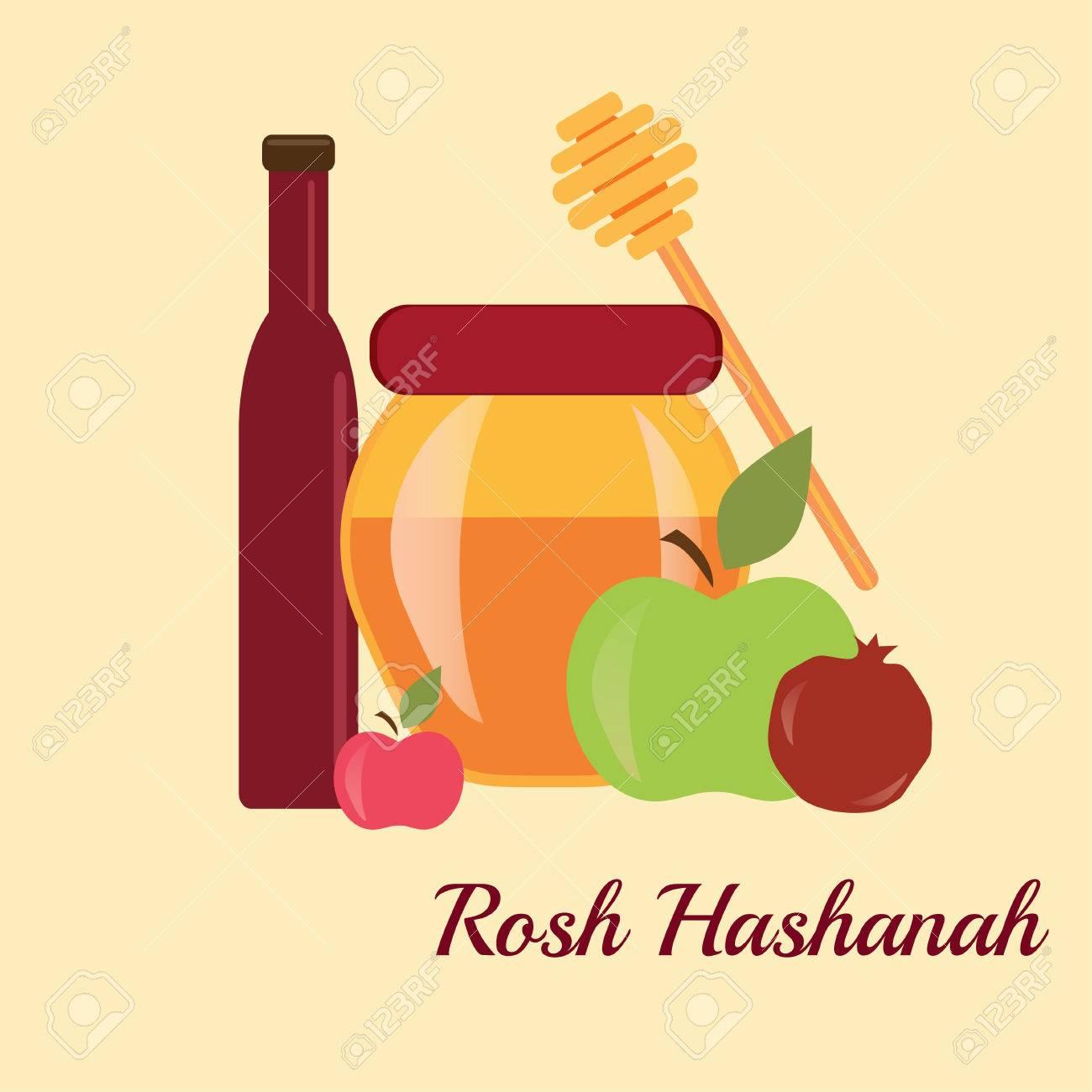 Rosh Hashanah Jewish New Year Greeting Card Set Design With Hand