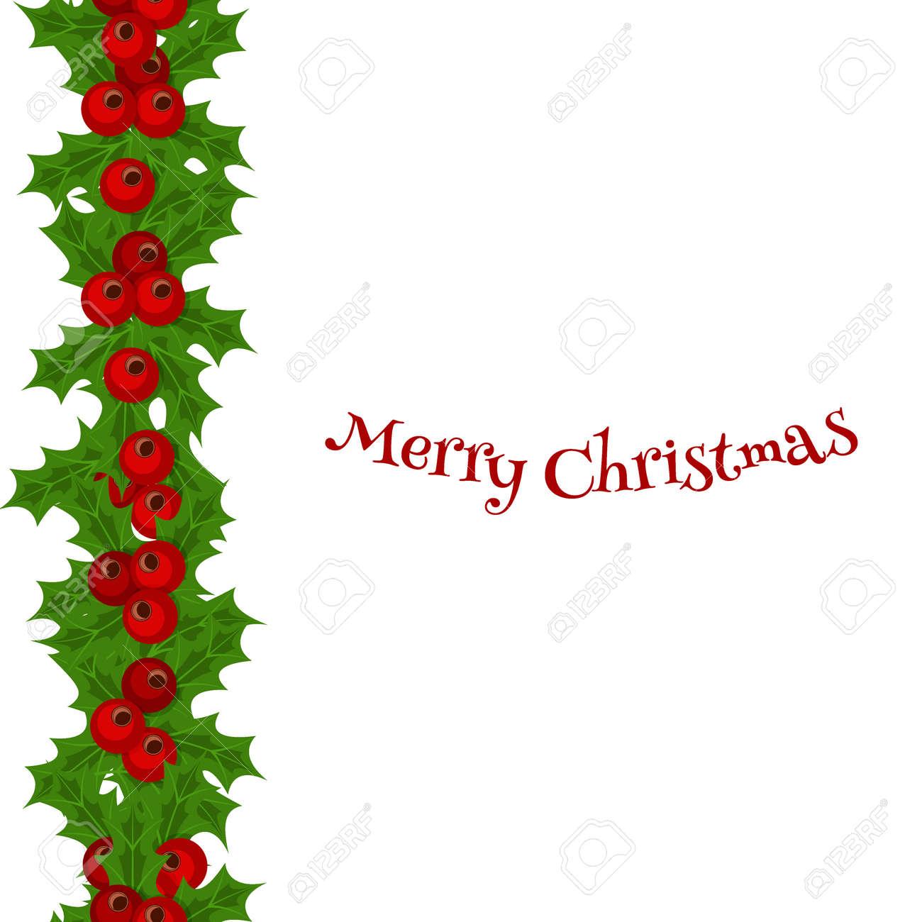 green christmas garlands of holly and mistletoe horizontal seamless rh 123rf com christmas border vector graphics christmas border vector images