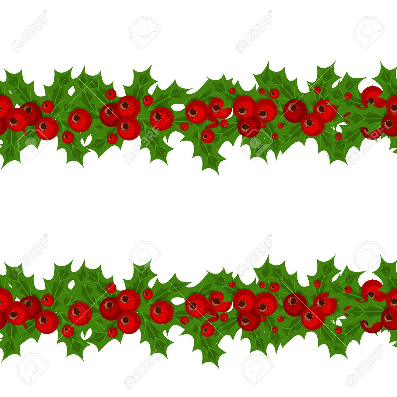 Christmas Garlands.Green Christmas Garlands Of Holly And Mistletoe Horizontal Seamless
