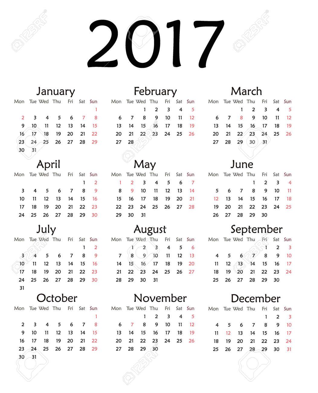 2017 年シンプルなカレンダーですベクトル テンプレート デザイン毎月日図 2017年カレンダー主催者単純な週番主催者日 2017 年カレンダー月ビジネス テンプレート デザイン