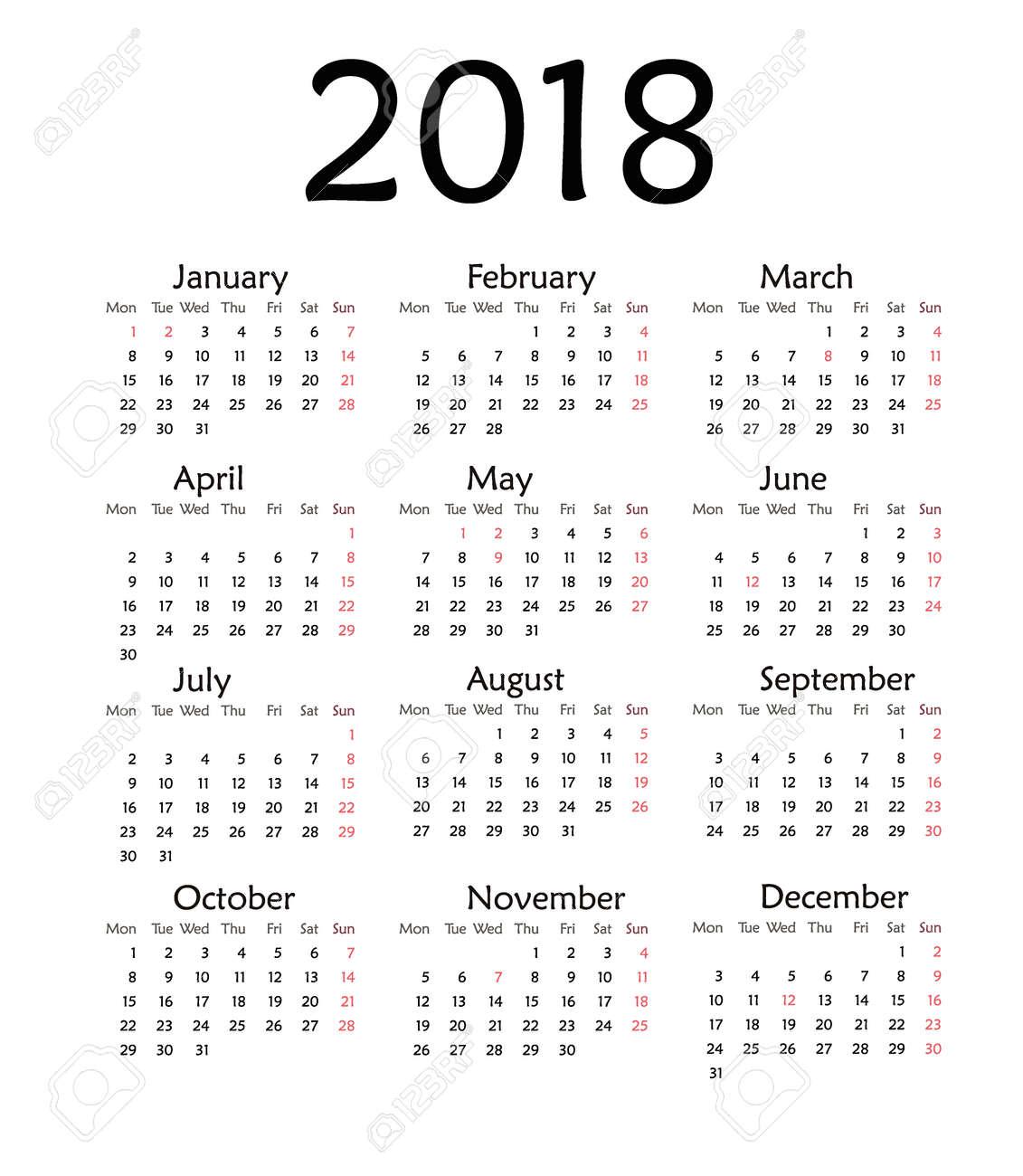 Simple calendar for 2018. Vector template design monthly date illustration 2018 calendar week organizer simple number. Organizer date 2018 year calendar month business template design. - 63656598