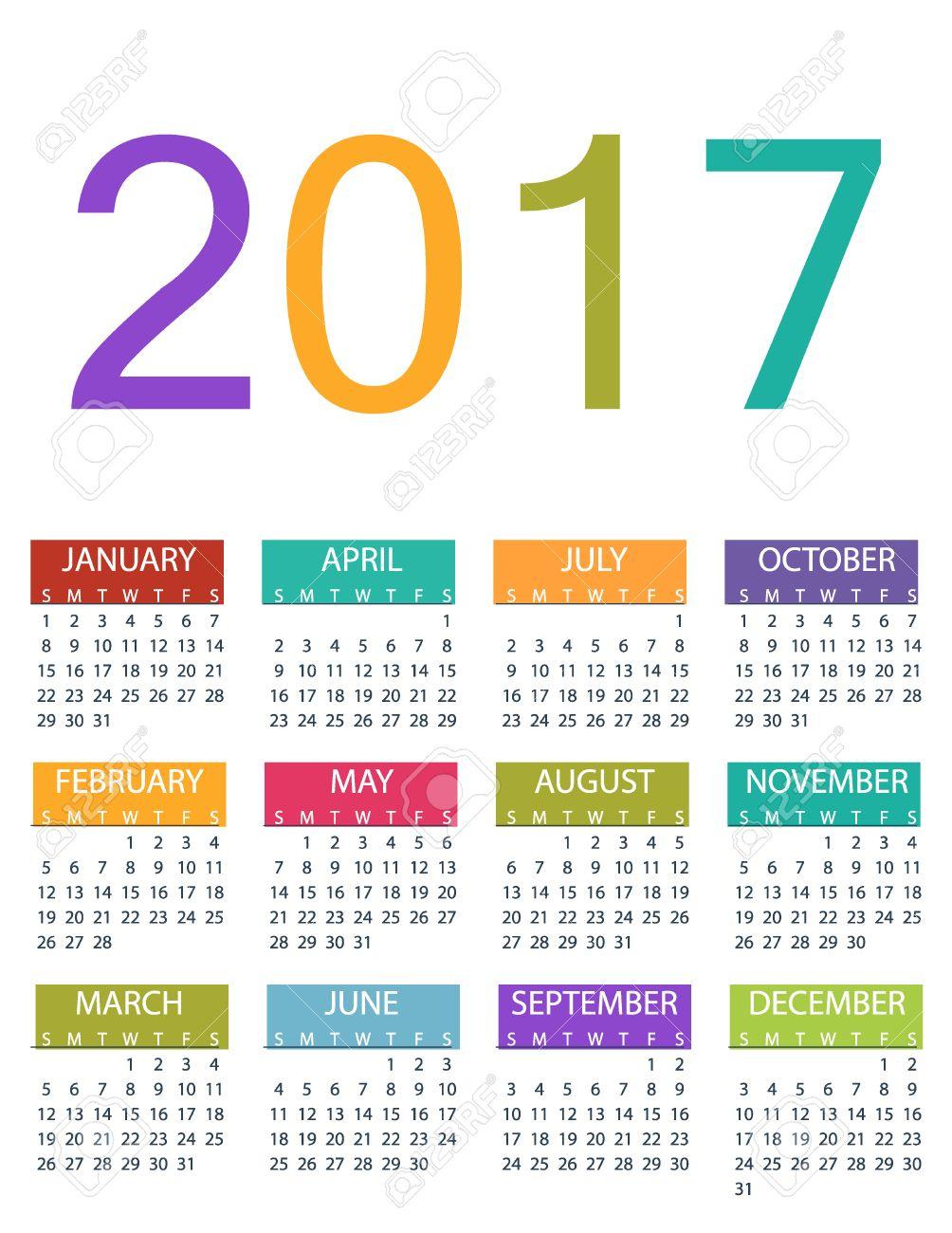 2017 Diseño Calendario Del Planificador. Vector Plantilla De Diseño ...