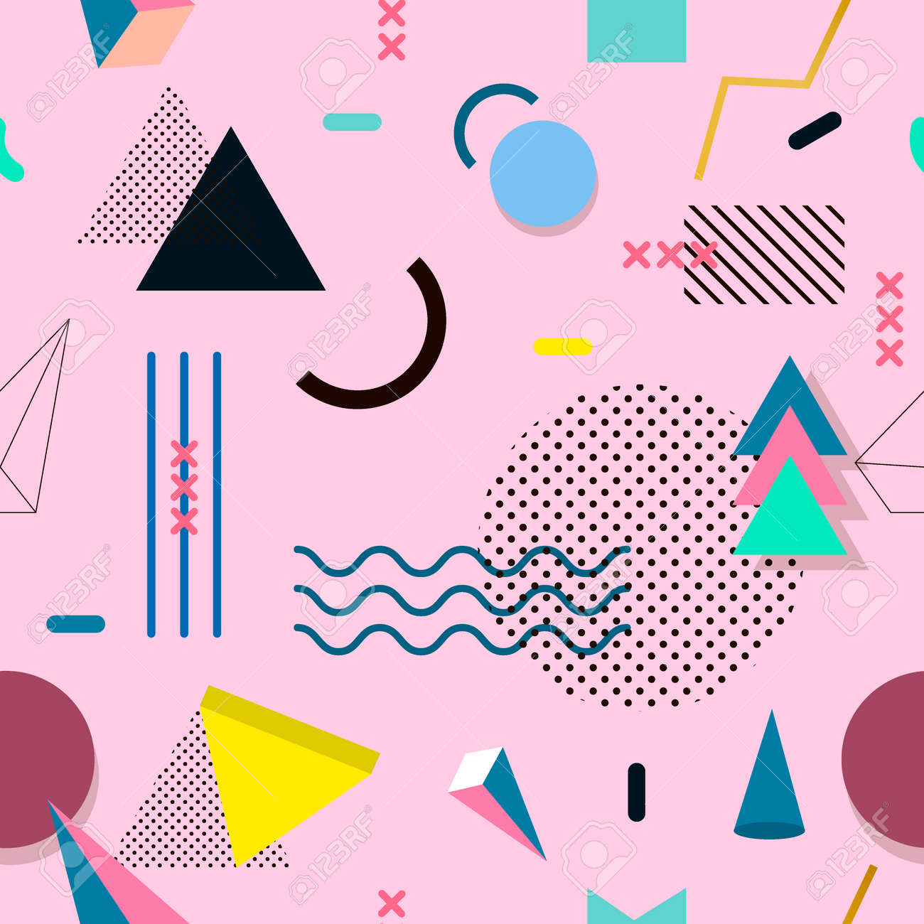 Memphis pattern seamless of geometric shapes for tissue and postcards. Hipster poster juicy bright color background. Abstract fashion geometric graphic style 80s memphis pattern vector. - 66817633