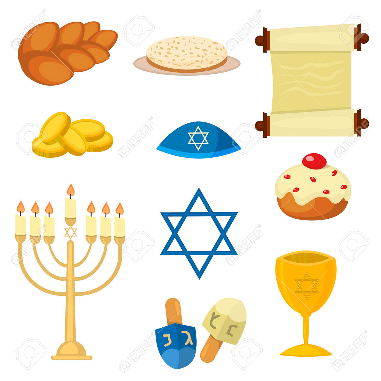 Judaism Church Traditional Symbols Jewish Icons Set Isolated