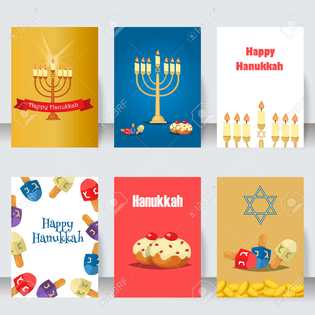 Hanukkah traditional jewish holiday cards set vector various hanukkah traditional jewish holiday cards set vector various jewish cards and invitation hanukkah celebration flat m4hsunfo Image collections