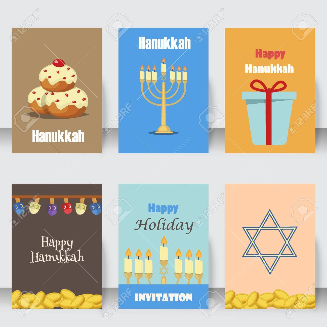 7106436a5742b Jánuca Tradicionales Tarjetas Para Las Fiestas Judías Conjunto De Vectores.  Varias Tarjetas De Judías Y Los Iconos Planos Invitación De Jánuca  Celebración ...