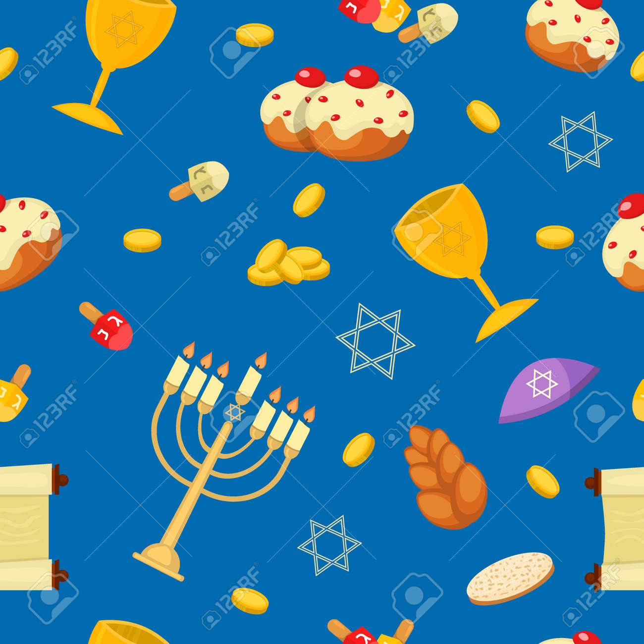 Hanukkah seamless pattern with menorah, dreidel, coins, donuts, bows and Jewish star