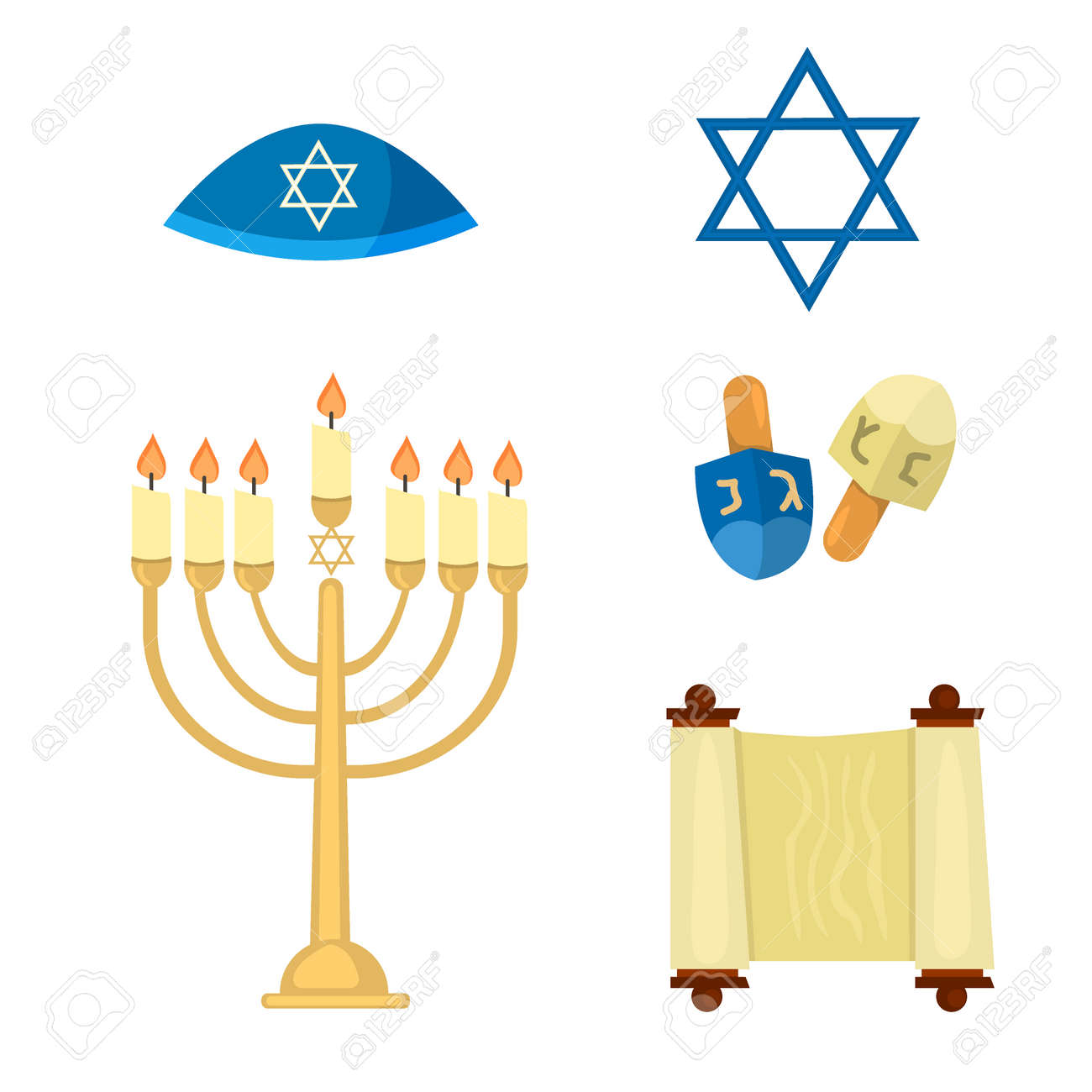 Judaism church traditional symbols jewish hanukkah set various judaism church traditional symbols jewish hanukkah set various jewish symbols and items hanukkah celebration flat buycottarizona Images