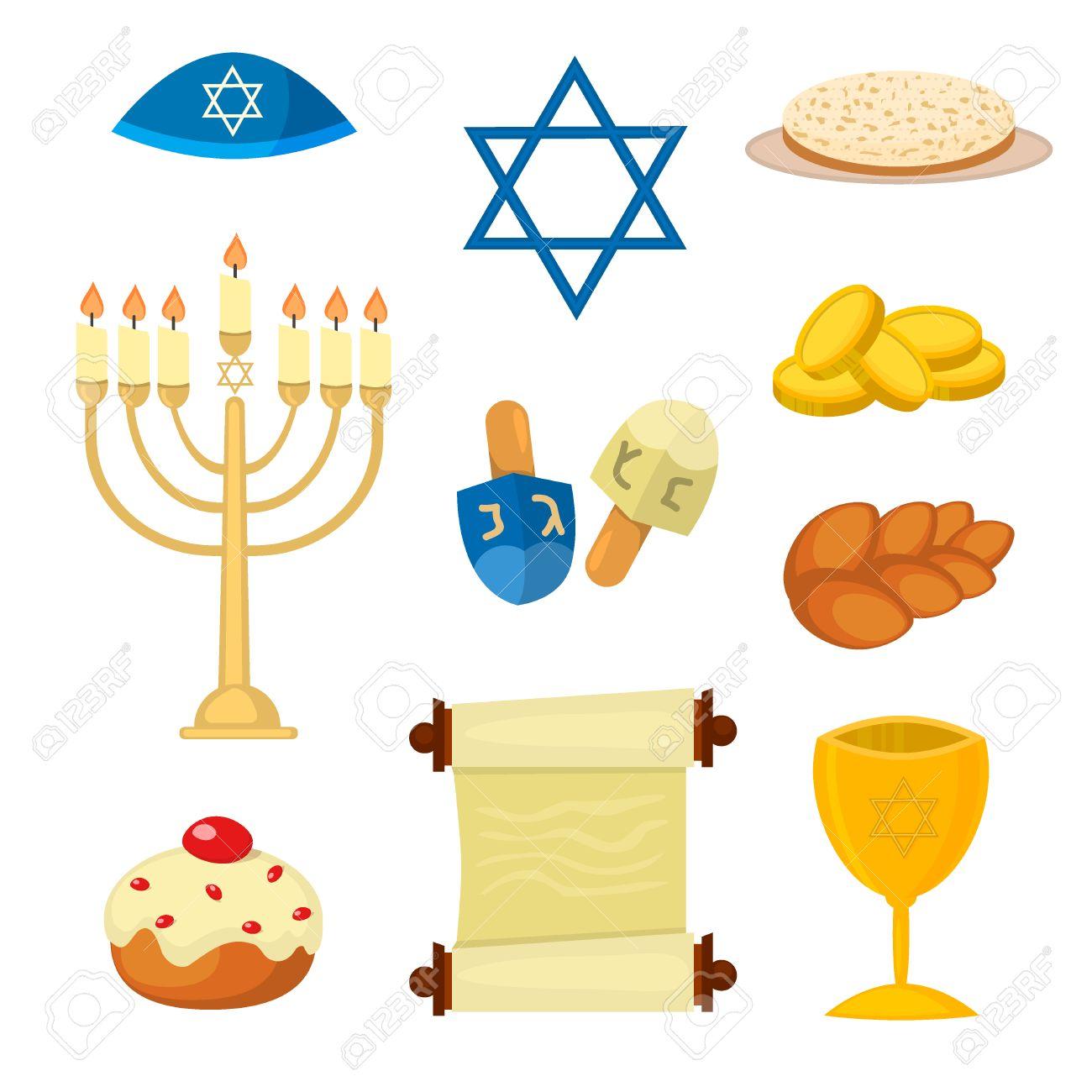 Judaism church traditional symbols jewish hanukkah set various judaism church traditional symbols jewish hanukkah set various jewish symbols and items hanukkah celebration flat biocorpaavc