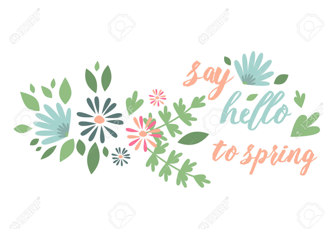 Spring Typographic Flower Design Vector Elements With Spring