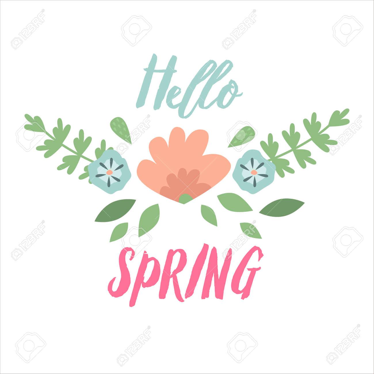 spring typographic flower design vector elements spring