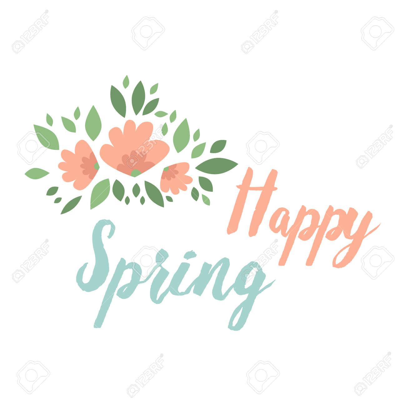 Diseño Floral Tipográfico De Primavera. Los Elementos Del Vector Con ...