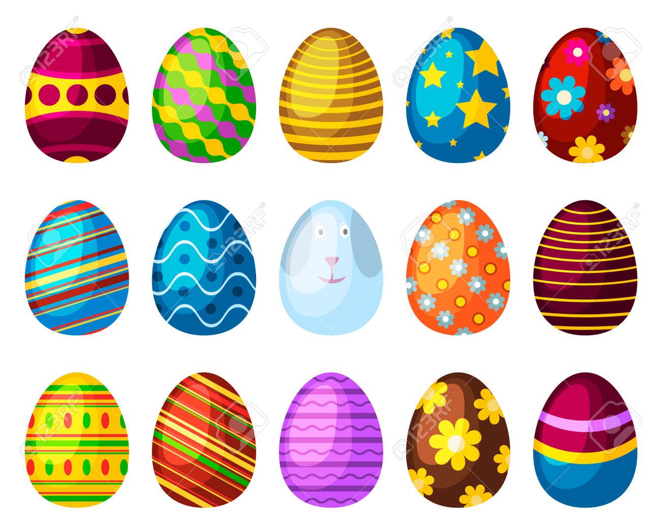 Banque d\u0027images , Oeufs de Pâques printemps coloré isolé célébration  décoration vacances icônes. Oeufs de Pâques illustration vectorielle pour  la conception