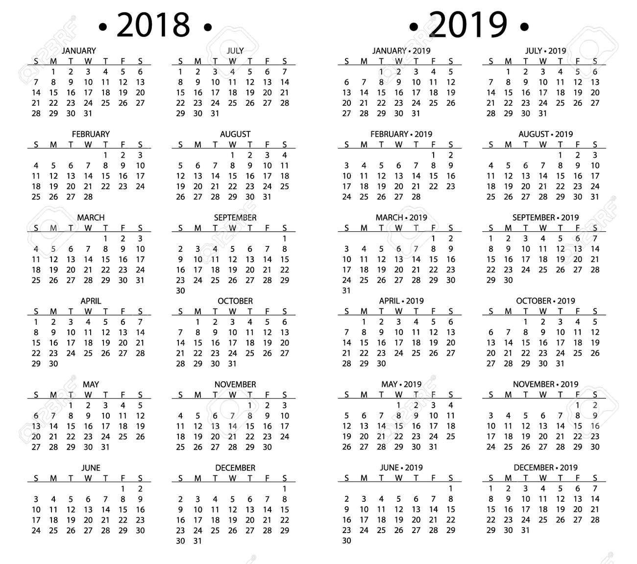 Calendario Simple Para 2018 Y 2019 Años Plantilla Fecha Día Diseño ...