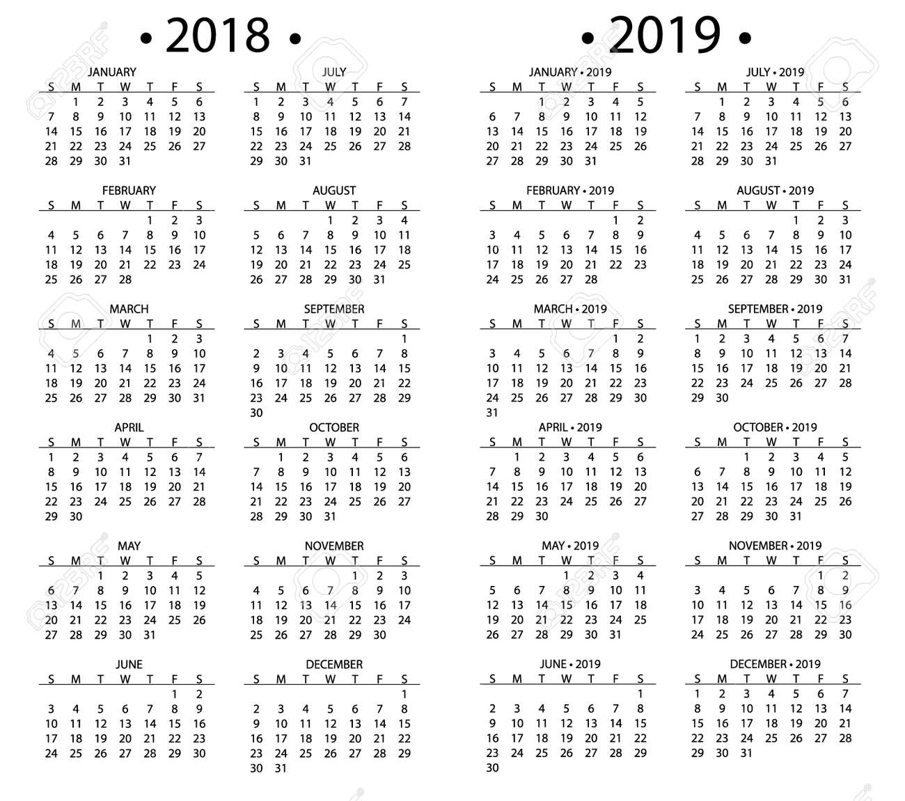 simple calendar for 2018 and 2019 years template date day design