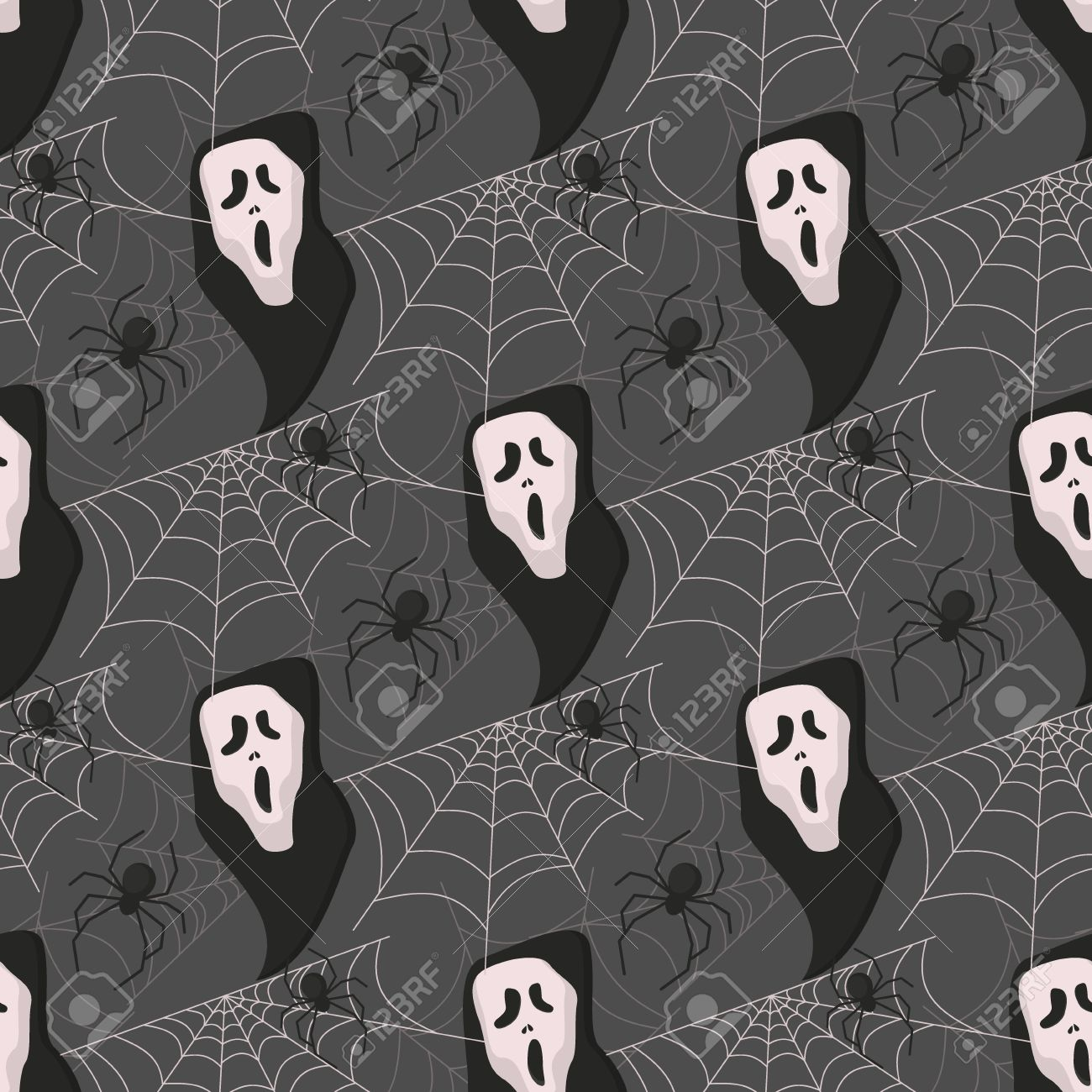Halloween Spooky Wallpaper.Halloween Seamless Pattern Vector Background Holiday Horror Wallpaper