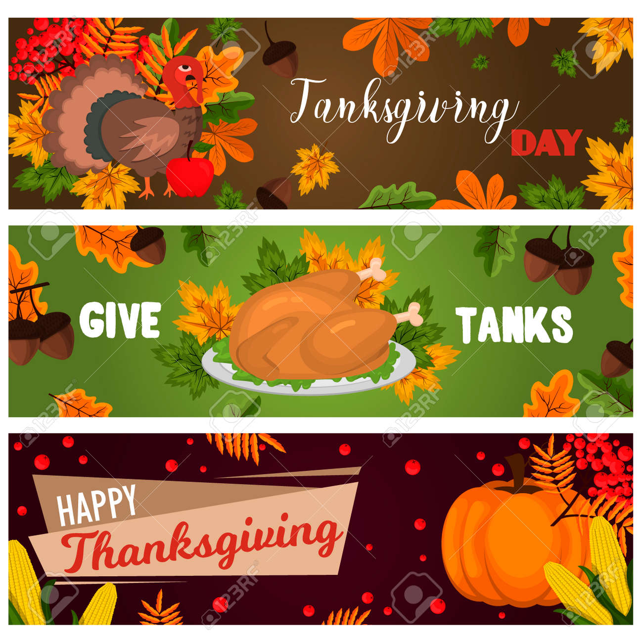 Happy Thanksgiving Cards Celebration Banner Design Cartoon Autumn