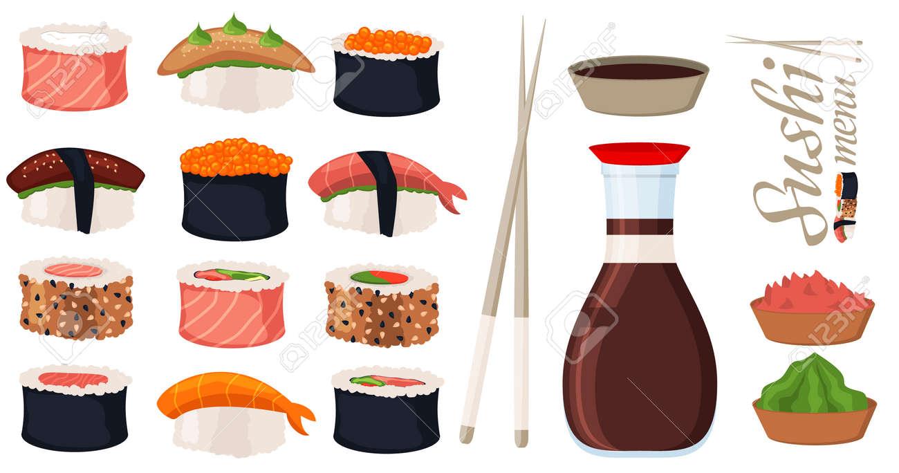 Sushi rolls set sashimi seafood fish rice japanese food fresh soy sauce japan meal maki raw shrimp restaurant traditional asian cuisine vector illustration. Gourmet healthy wasabi seaweed appetizer. - 88598217