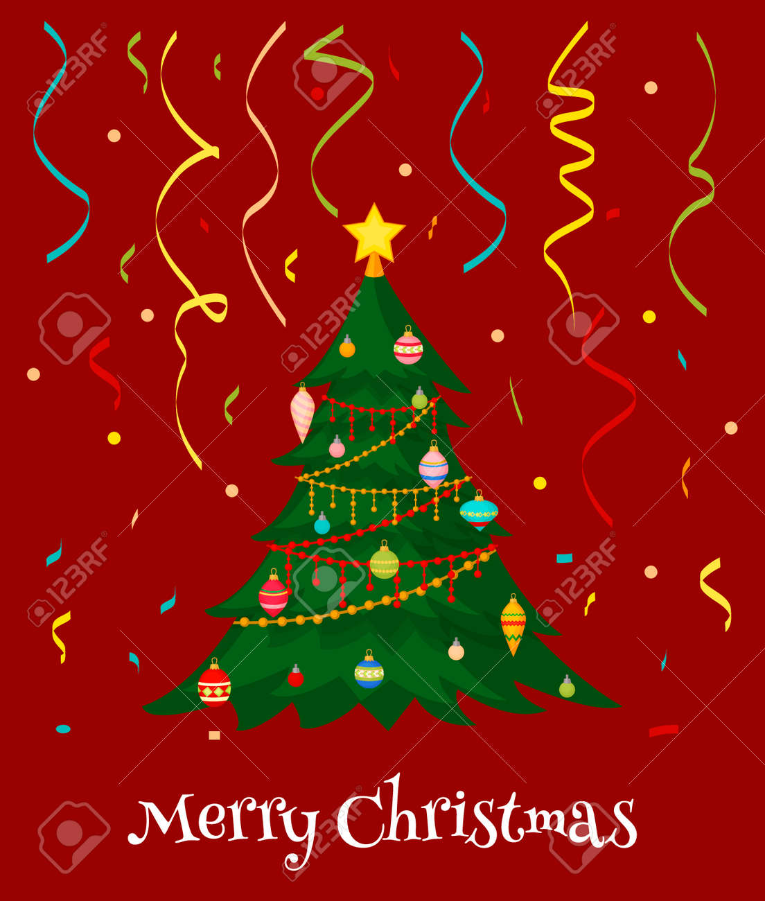 Christmas Tree With Fir Gifts Balls Lights Winter Holiday Gift
