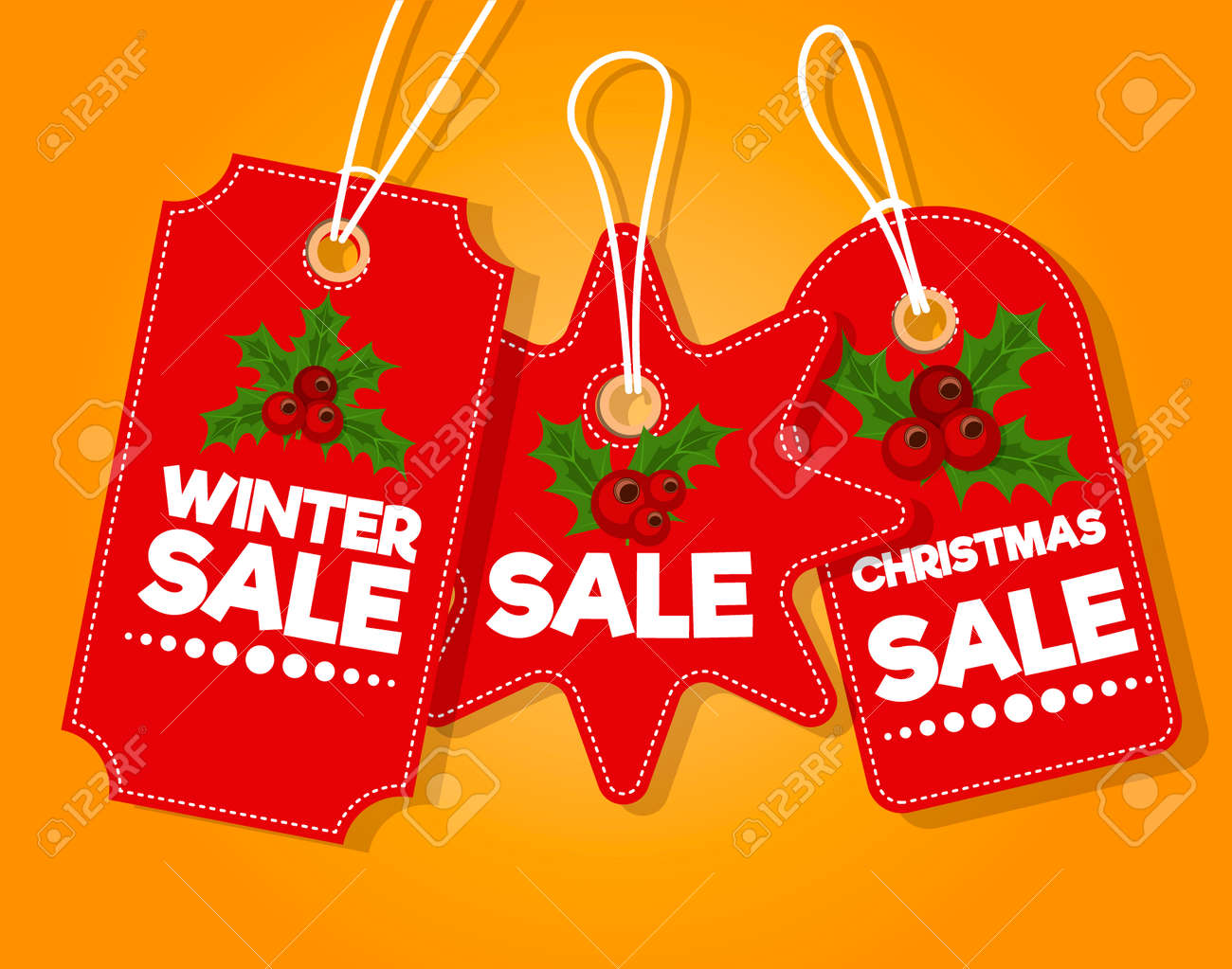 Christmas Sale Paper Tag Banner Holiday Discount Xmas Winter
