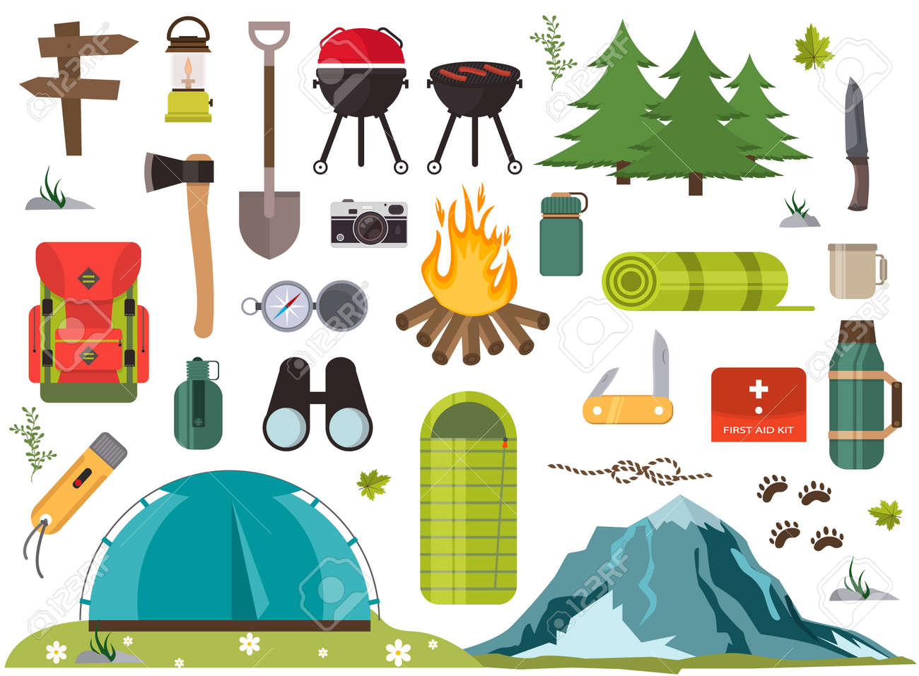 wholesale dealer dbfae 2e5a6 Hiking camping equipment vector campfire base camp gear and accessories..