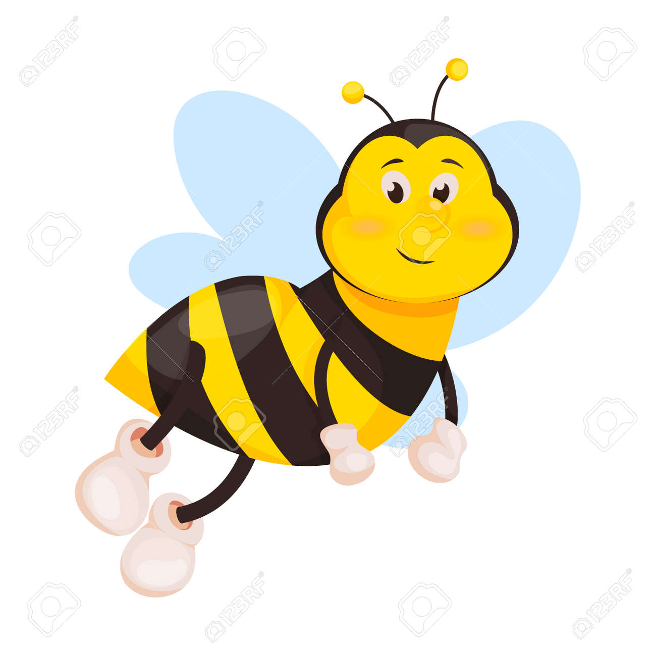 Bee Cartoon Cute Honeybee Insect Vector Illustration Isolated Royalty Free Cliparts Vectors And Stock Illustration Image 100522393