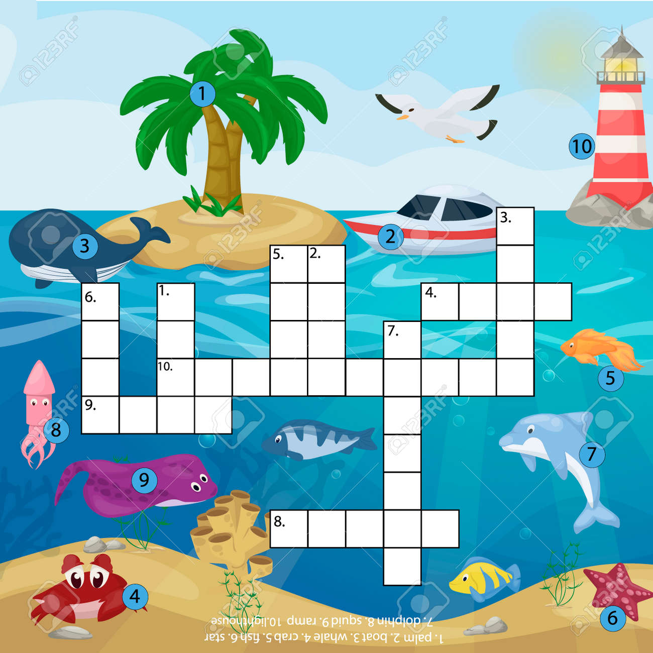 image about Star Magazine Crossword Puzzles Printable titled Crossword young children journal guide puzzle match of sea underwater ocean..
