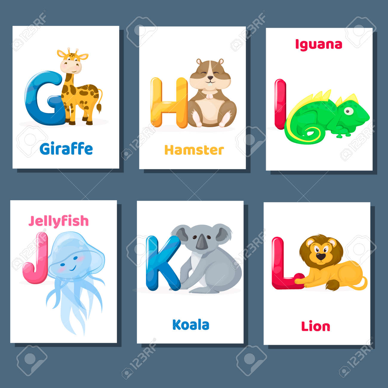 Alphabet Printable Flashcards Vector Collection With Letter G