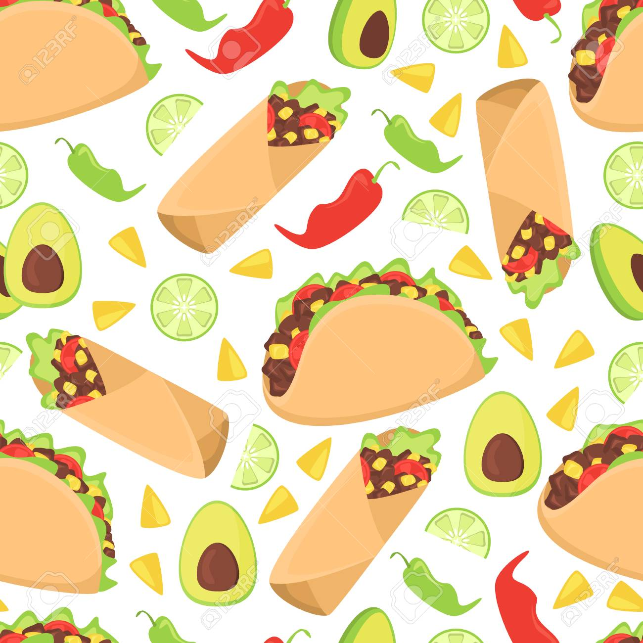Mexican food seamless pattern fresh chili nachos vector illustration. Traditional mexico culture spicy burrito background. Tasty latin meal lunch wallpaper cooking cuisine. - 114688117