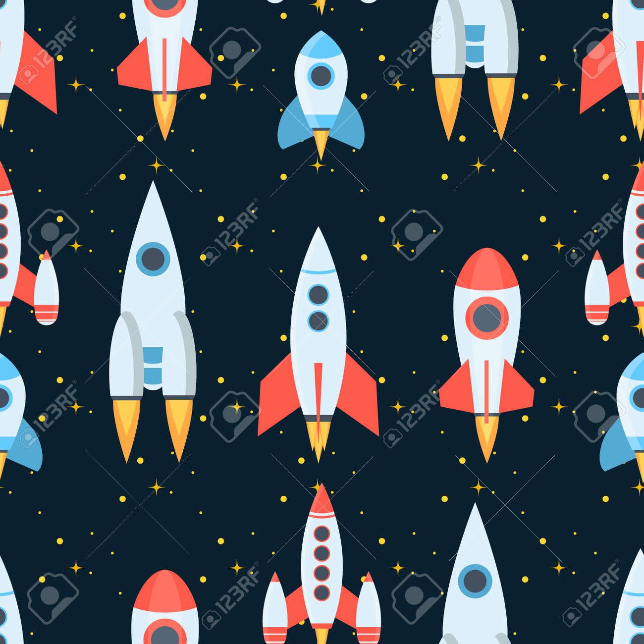 Rocket space globe solar system and planet cosmos sky seamless pattern background vector illustration. Flight spacecraft astronaut exploration travel shuttle. Cosmonaut spaceman ocketship. - 112226820