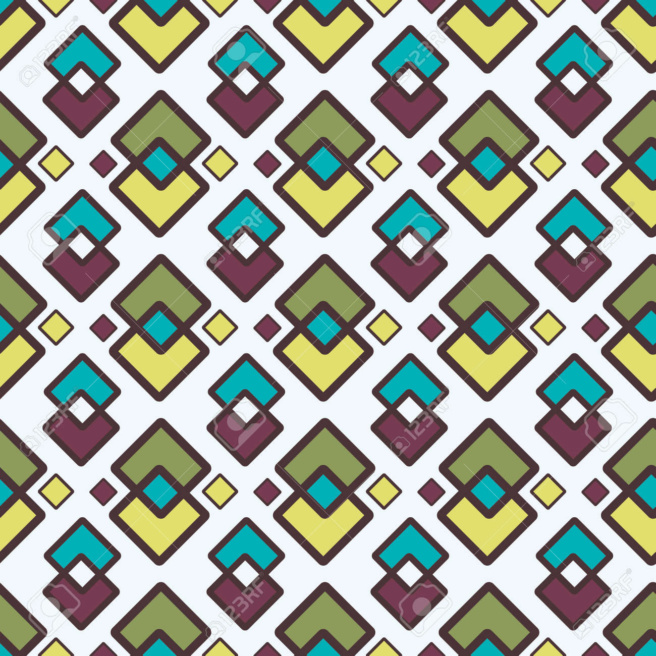 Square Abstract Geometric Pattern With Rhombuses Seamless Vector