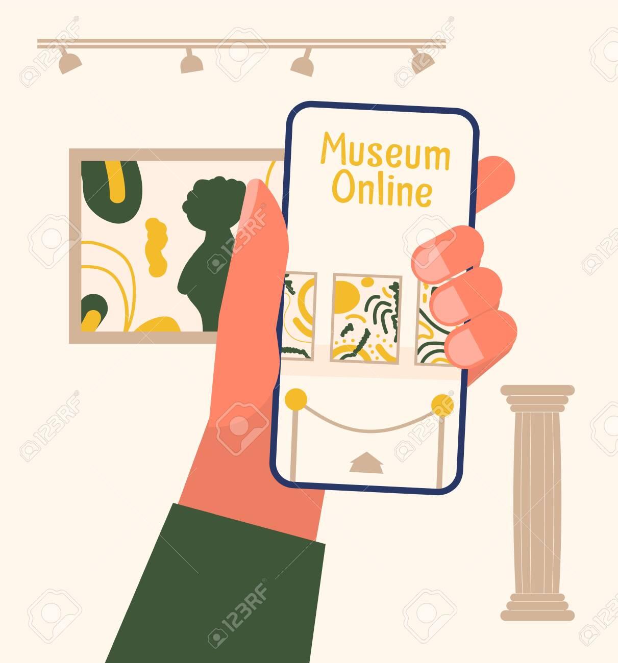 Museum exhibit online concept. - 144837622