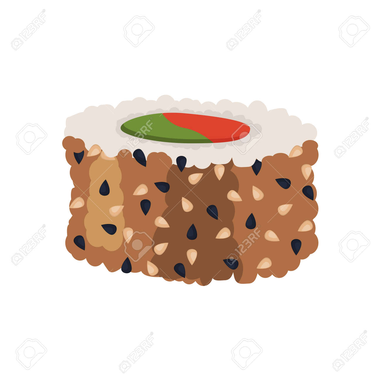 Sushi roll Fresh sea food with fish salmon tuna. Japanese rice traditional delicacy cusine. Vector illustration - 148298885