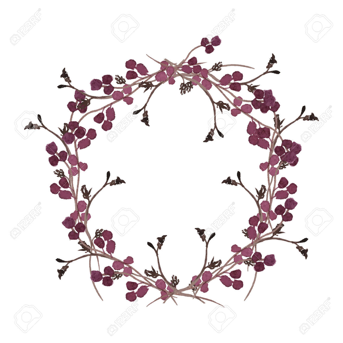 Floral wreath. Round borders made of hand drawn herbs and flowers. Herbal frame. Greenery autumn border isolated on white. Fall nature branch to ornate quote or logo. Wedding wreath invitation. - 159465265