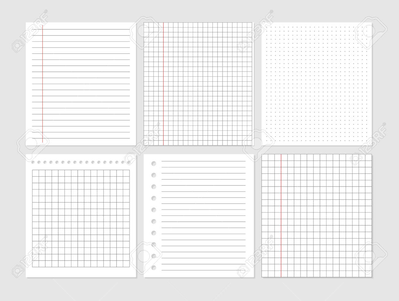 Notebook paper sheet document. Graphical blank paper sheet set for data representation. Page ripped off from notebook. Vector empty note paper. Remember list template. Lined school card. - 168192646