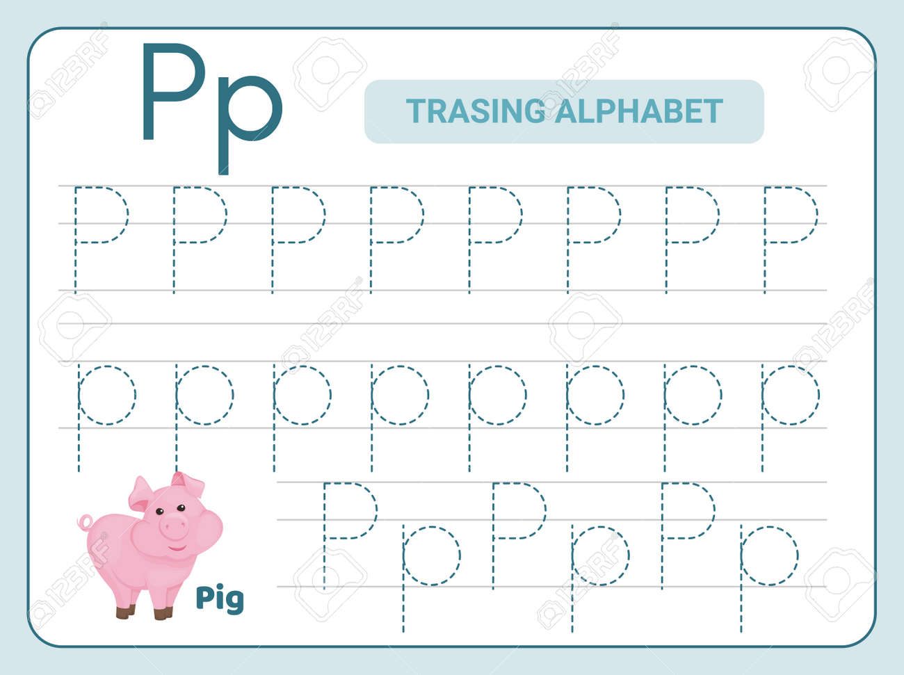 Alphabet tracing practice Letter P. Tracing practice worksheet. Learning alphabet activity page. Printable template. Uppercase and lowercase ABC trace practice worksheet. Learning English handwriting - 168193143