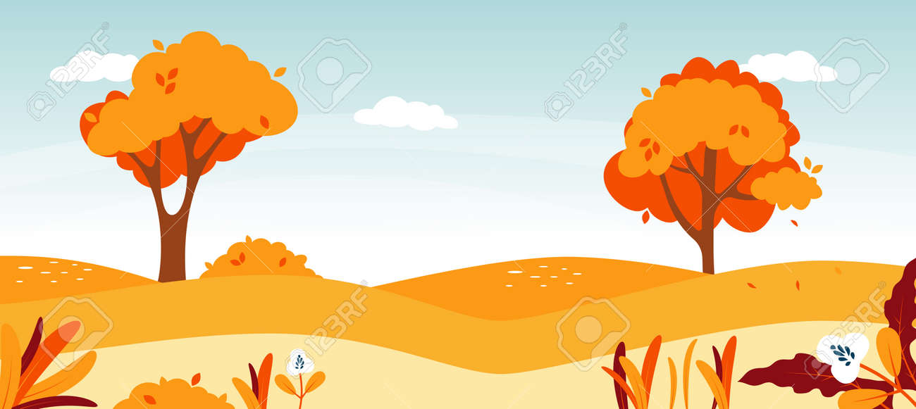 Autumn road landscape. Natural forest foliage illustration. - 171761793