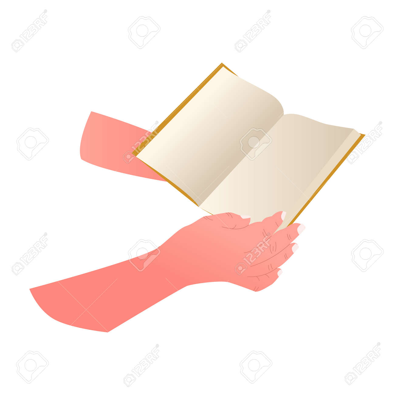 Hand with book isolated on white background. Open book in people hands, education concept. - 172236948