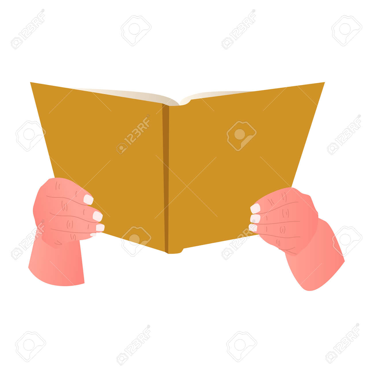 Hand with book isolated on white background. Open book in people hands, education concept. - 172108969