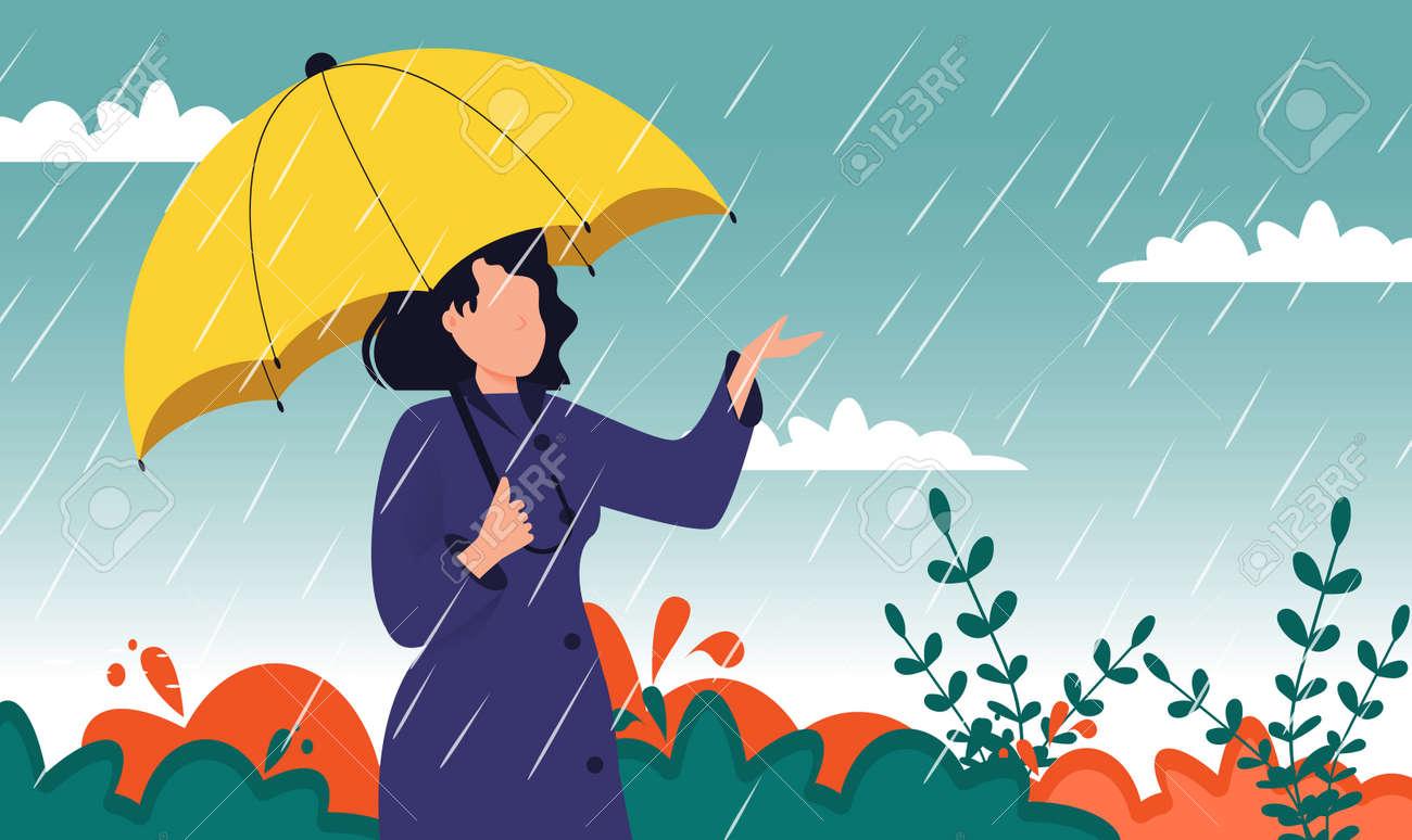 Autumn landscape city woman umbrella rain puddles of yellow trees. - 172108736
