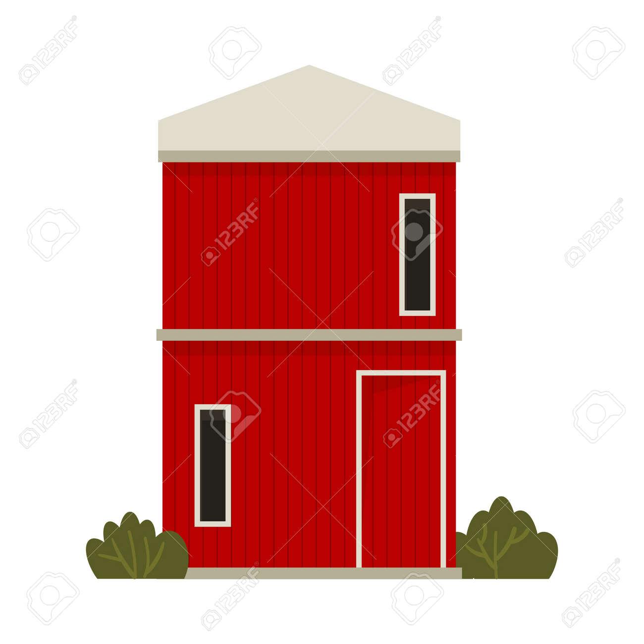 Red barn house Farm. Autumn hay harvest. - 172370091