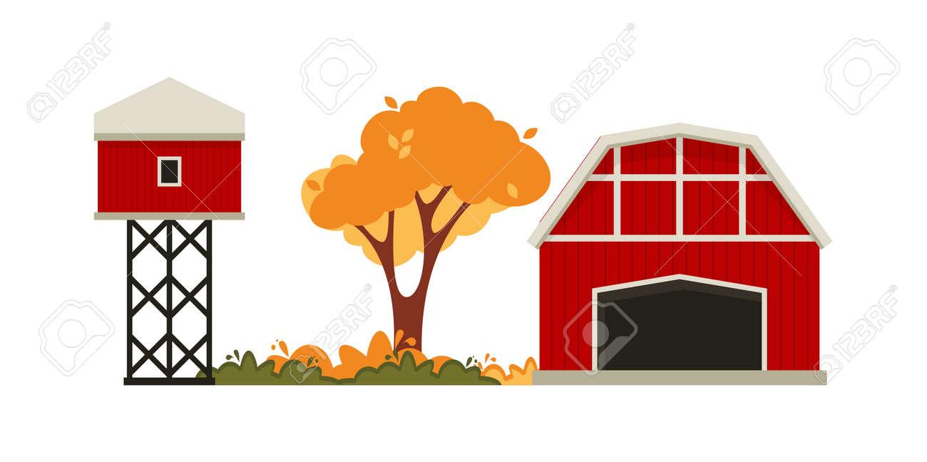 Red barn house Farm. Autumn hay harvest. - 172370094