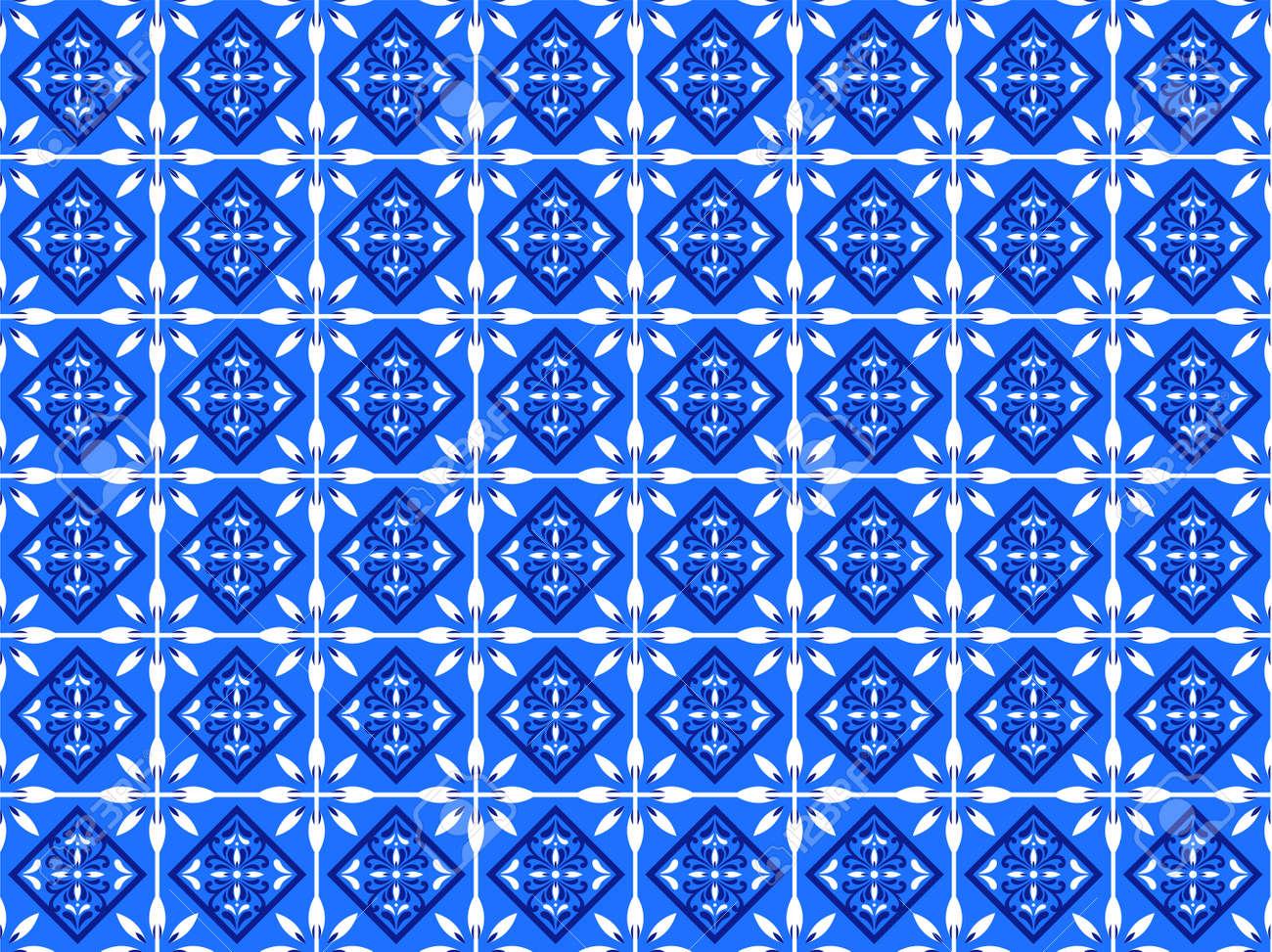 Azulejos Portuguese tile floor pattern - 173114923