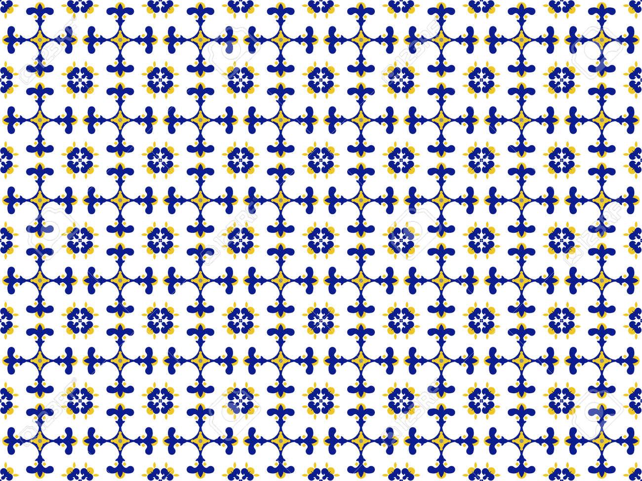 Azulejos Portuguese tile floor pattern - 173114922