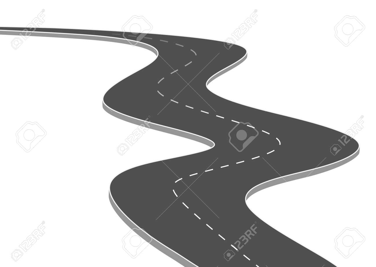 Roadway journey to the future. Asphalt street isolated on white background. Symbols Way to the goal of the end point. Path mean successful business planning Suitable for advertising and presentstation - 147979507