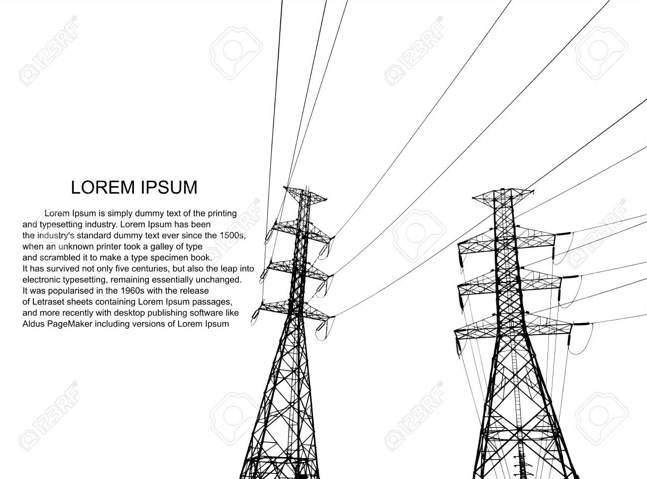 Electric power system Illustration, presentation, and advertisement. The picture shows a network of interconnected electrical systems in all areas. Symbols, steps for successful business planning Suit - 147981220