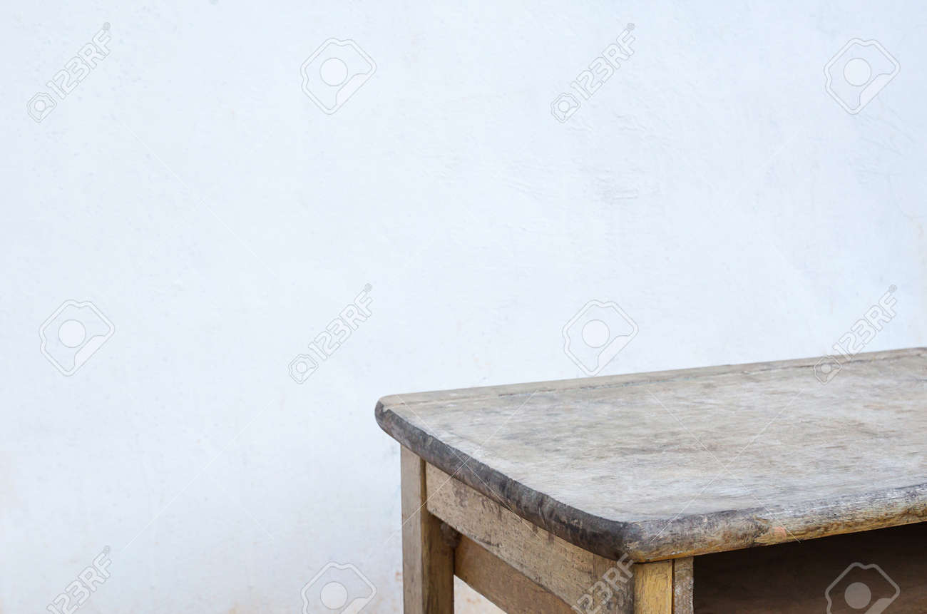 Empty Wood Table Top With Blur Old Concrete Background Wooden