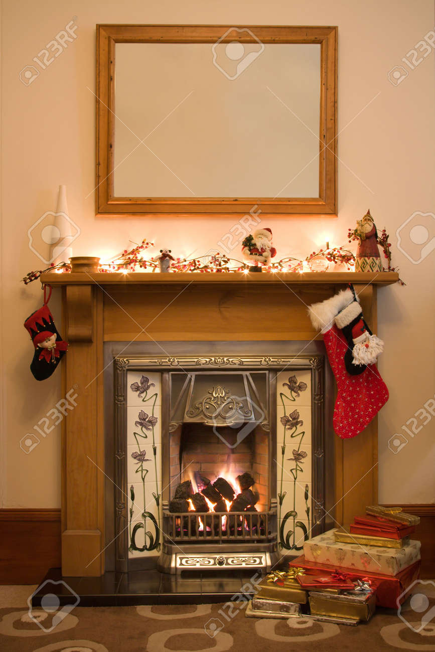 Victorian Style Fireplace Ready For Christmas Stock Photo, Picture ...