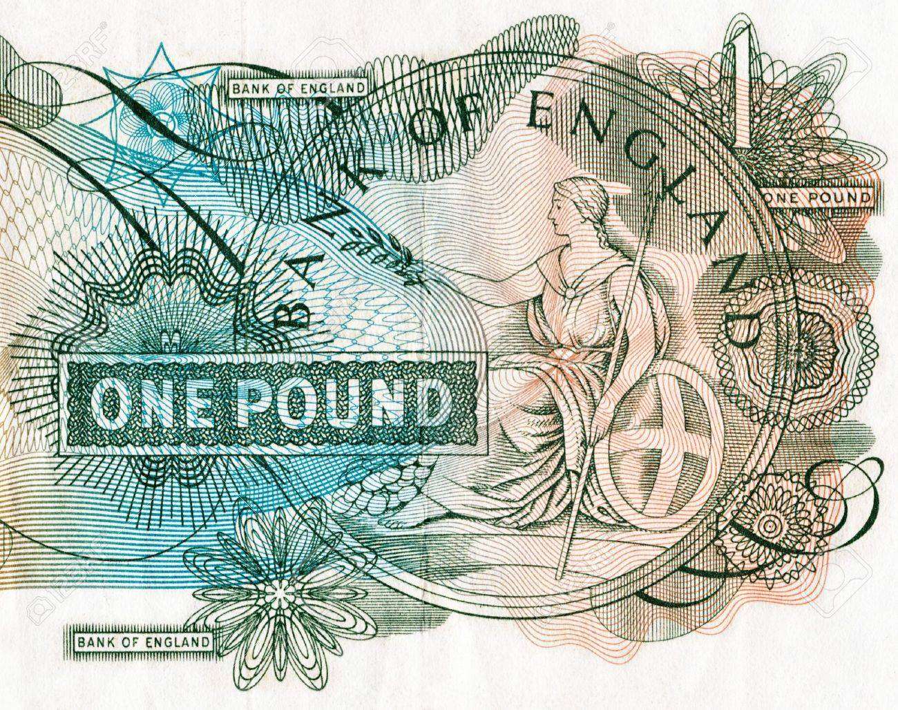 Old Bank of England one pound note depicting the goddess Britannia Stock Photo - 4178144