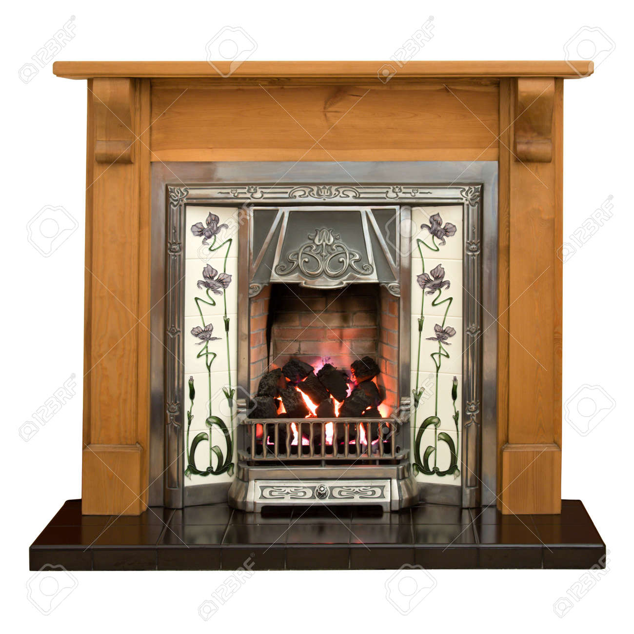 Victorian Style Tiled Fireplace With Pine Surround Stock Photo ...